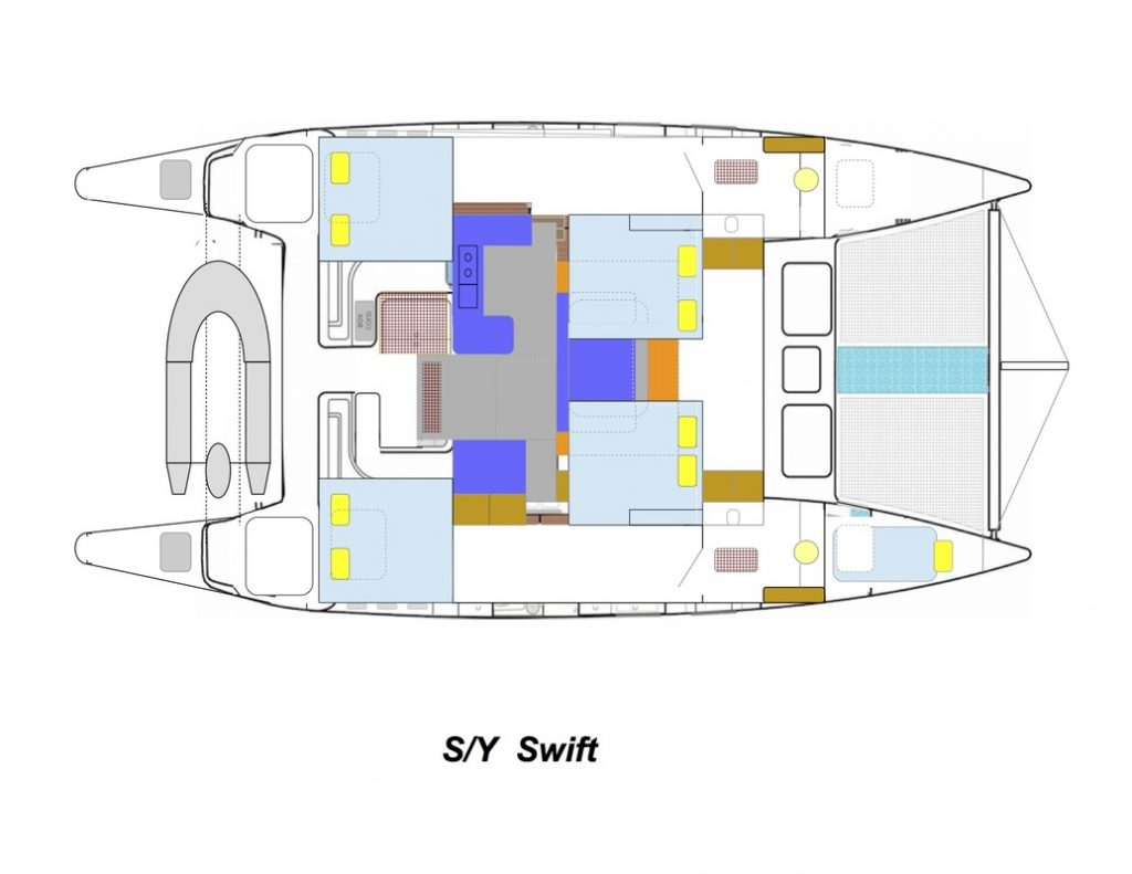 SY Swift catamaran layout